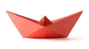 De rode boot van de origami Stock Fotografie