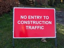 de rode bouwwerf ondertekent geen ingang aan bouwverkeer Royalty-vrije Stock Afbeeldingen