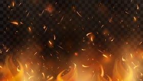 De rode Brand vonkt vector omhoog vliegend Brandende gloeiende deeltjes Vlam van brand met vonken in de lucht over een donkere na vector illustratie