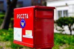 De rode brievenbus, verklaart Poolse post Bialystok Royalty-vrije Stock Foto's