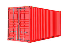 De rode Container van de Lading Isoalted Stock Foto's