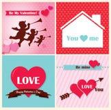 De rode dag van de hart gelukkige valentijnskaart Stock Afbeeldingen