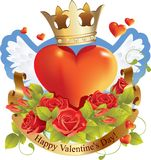 De rode Dag van de Valentijnskaarten van het hart Stock Afbeeldingen