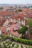De rode daken van Praag Stock Fotografie