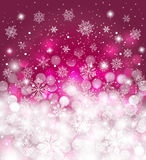 De rode de winterachtergrond vertroebelde, met sneeuwval en exemplaarruimte, voor Kerstmiskaart Royalty-vrije Stock Afbeeldingen