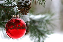 De rode decoratie van Kerstmis op snow-covered pijnboomboom in openlucht Royalty-vrije Stock Afbeeldingen