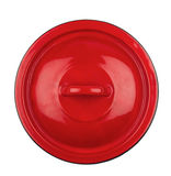 De rode dekking van de metaalpot Royalty-vrije Stock Afbeeldingen