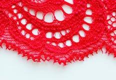 De rode dichte omhooggaande textuur van de kantstof Royalty-vrije Stock Afbeelding