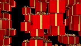 De rode die giftdozen met gouden linten worden verpakt vallen op zwarte achtergrond Loopableanimatie voor Kerstmis, vakantie en stock footage