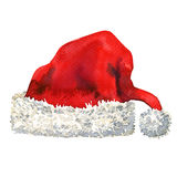De rode die hoed van Santa Claus op witte achtergrond wordt geïsoleerd Stock Foto