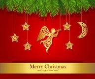 De rode die kaart van de Kerstmisgroet met gouden engel wordt verfraaid Royalty-vrije Stock Foto's