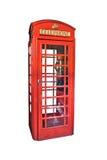 De rode die telefooncel van Londen op wit wordt geïsoleerd Stock Afbeelding