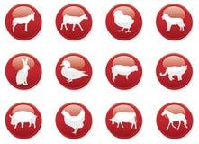 De rode dieren van pictogramknopen Stock Afbeelding