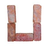 De rode doopvont van het baksteenalfabet op witte die achtergrond met het knippen van weg wordt geïsoleerd Royalty-vrije Stock Foto's