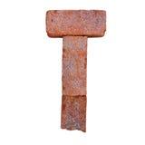 De rode doopvont van het baksteenalfabet op witte die achtergrond met het knippen van weg wordt geïsoleerd Royalty-vrije Stock Afbeelding