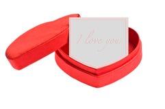De rode doos van de hartvorm met kaart Stock Afbeeldingen