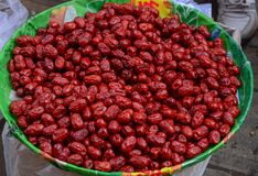 De rode droge vruchten van de datum Chinese datum royalty-vrije stock fotografie