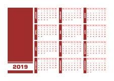 De rode Duitse kalender van 2019 royalty-vrije illustratie