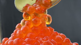 De rode eieren die van een lepel van kaviaar op de berg druipen, en verbergen in hun sap stock footage