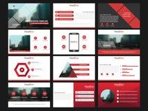 De rode elementen van presentatiemalplaatjes op een witte achtergrond Abstracte kaart en lijnen als achtergrond Gebruik in Presen stock illustratie