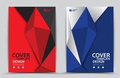De rode en Blauwe veelhoekige achtergrond van het dekkingsmalplaatje, Verticaal schema, Bedrijfsbrochurevlieger, jaarverslag, boe Stock Fotografie