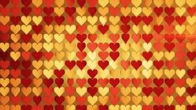 De rode en gouden 3D samenvatting van de hartenserie geeft illustratie terug royalty-vrije illustratie