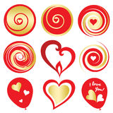 De rode en gouden digitale elementen van Valentine Day stock foto's