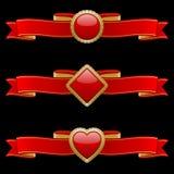 De rode en Gouden Elementen van de Banner Stock Afbeelding
