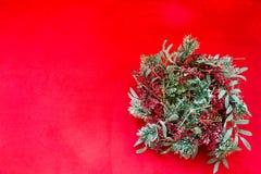 De rode en groene kroon van de Kerstmisvakantie op rode achtergrond royalty-vrije stock foto's