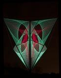 De rode en groene lichten leidden tot 3D vorming in zwarte Royalty-vrije Stock Foto