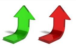 De rode en groene pijlen van het financilasucces Stock Foto's