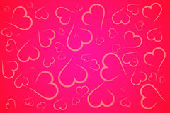 De rode en roze achtergrond van de hartenillustratie stock foto
