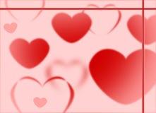 De rode en Roze Harten op roze Onduidelijke beeldeffect het Achtergrond van Bokeh houden de gradiënt van Illustratie van de Groet Stock Afbeeldingen