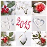 de rode en witte foto's van 2015, van de sneeuw en van de winter Stock Afbeelding