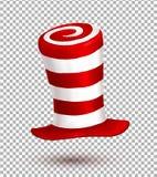De rode en witte hoed van Carnaval van kleurenstrepen realistische vector stock illustratie