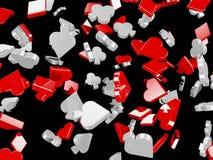 De rode en Zwarte achtergrond van Kaartsymbolen Stock Afbeeldingen