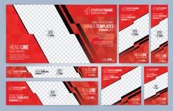 De rode en Zwarte malplaatjes van Webbanners stock afbeeldingen