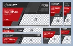 De rode en Zwarte malplaatjes van Webbanners royalty-vrije stock afbeelding