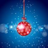 De rode Fonkelende Bal van Kerstmis Stock Foto's