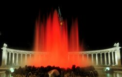 De rode fontein van Magestic Stock Foto's
