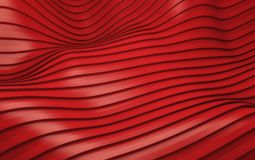De rode futuristische achtergrond van streepgolven 3d geef terug Stock Foto