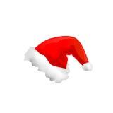 De rode geïsoleerde hoed van Santa Claus Stock Foto