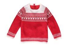 De rode geïsoleerde sweater van het Kerstmispatroon Stock Afbeeldingen