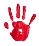 De rode geïsoleerde verf van de handdruk Stock Foto's