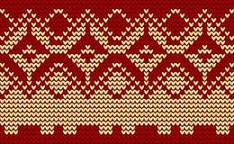 De rode gebreide achtergrond van Kerstmis Stock Afbeeldingen