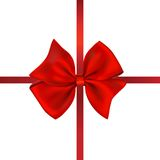 De rode Gift van de Boog. Geïsoleerd. op Wit Royalty-vrije Stock Afbeeldingen