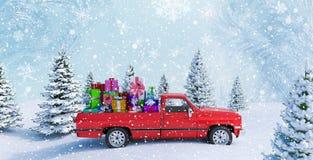 De rode Giften van Auto Dragende Kerstmis in Sneeuw 3d Landschap geven terug stock illustratie