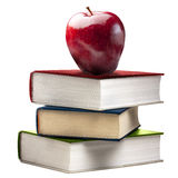 De rode Glanzende Apple-Geïsoleerde Gekleurd Boeken van het Stapelboek Royalty-vrije Stock Foto