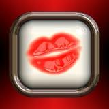 De rode Glanzende Knoop van Lippen Royalty-vrije Stock Fotografie