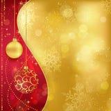 De rode gouden achtergrond van Kerstmis met snuisterijen Stock Afbeeldingen